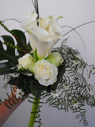 Bruidsboeket  callas en rozen